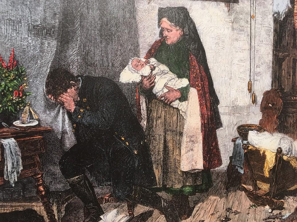 A megkésve hazaérkező katona férj a bábától tudja meg, hogy felesége és gyermeke halott